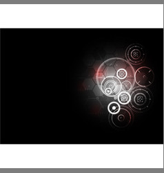 Technological abstract red light interface gears vector