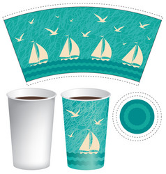 Template paper cup with sailboats in the sea vector
