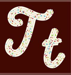 Tempting tipography font design 3d letter t of vector