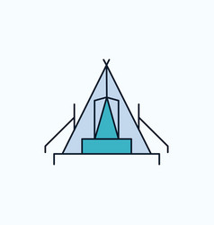 Tent camping camp campsite outdoor flat icon vector