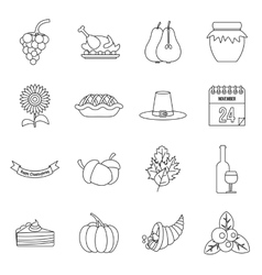 Thanksgiving icons set outline style vector