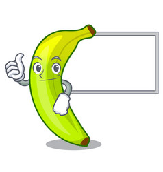 Thumbs up with board green banana cartoon in the vector