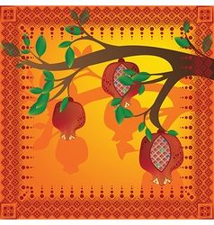 Tree branch with pomegranates and pattern vector image
