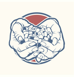 Two cupped hands holding handful pile colorful vector