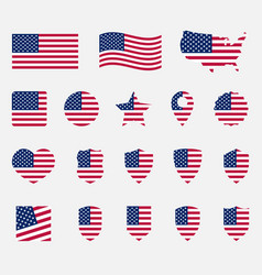 usa flag icons set national symbol united vector image