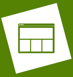 web window sign white icon obtained as a vector image