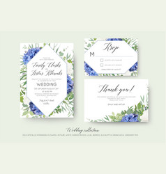 wedding floral invite rsvp thank you card set vector image