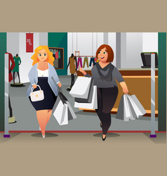 women shopping in a mall vector image