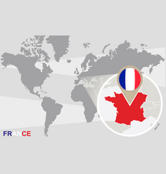 world map with magnified france vector image