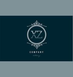 xz x z blue decorative monogram alphabet letter vector image