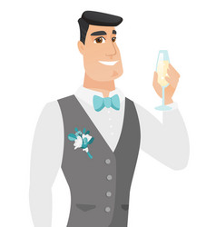 young caucasian groom holding glass of champagne vector image