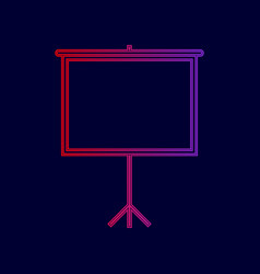 blank projection screen line icon with vector image