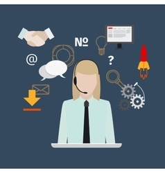Call center with girl flat style banner vector image