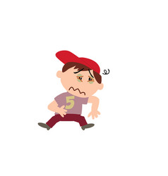 Cartoon character of a sick white boy with red cap vector