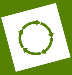 circular arrows sign white icon obtained vector image vector image