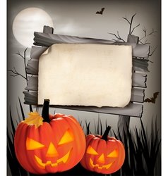 Halloween background with two pumpkins vector image