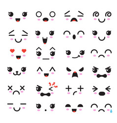kawaii cute faces manga style eyes and mouths vector image