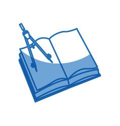 Open book school compass geometry utensil vector