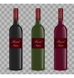 Realistic wine bottle set Isolated on white vector image vector image