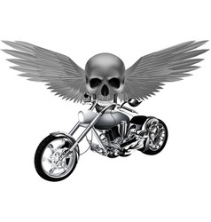 road bike on the background of a skull with wings vector image vector image