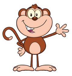 smiling monkey cartoon character waving vector image