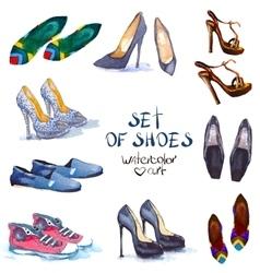 watercolor set shoes vector image vector image