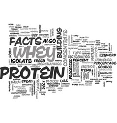 Whey protein facts text word cloud concept vector