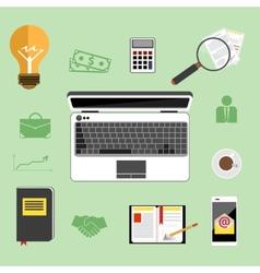 Businessman work desk flat concept vector image