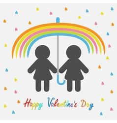 Happy Valentines Day Love card Rainbow umbrella vector image