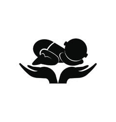 Little baby in mother hands icon vector image vector image