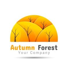Autumn forest Volume Logo Colorful 3d Design vector image