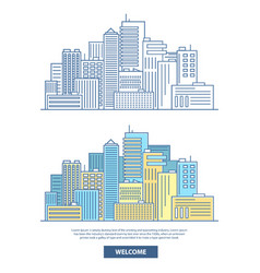 city skyscrapers horizontal banner travel vector image vector image