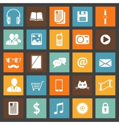 Flat media devices and services icons set vector image vector image