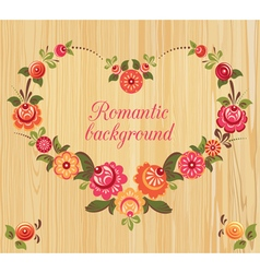 Floral frame in the shape of heart wood background vector image vector image