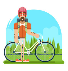 forest ride bicycle geek hipster ycling travel vector image