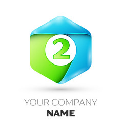 Number two logo symbol in the colorful hexagonal vector