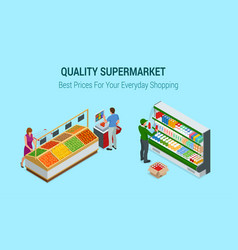 women and man shopping vegetables and fruits in vector image