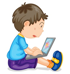 Boy using laptop vector image vector image