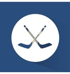 crossed sticks hockey blue background vector image