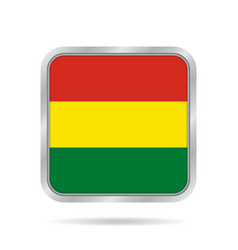 flag of bolivia metallic gray square button vector image vector image