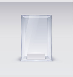 glass showcase for presentation on white vector image vector image