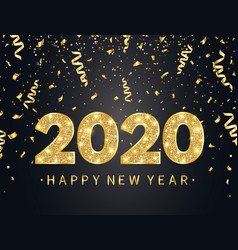 2020 happy new year background with gold confetti vector image