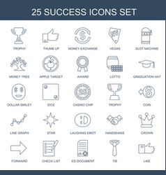 25 success icons vector image
