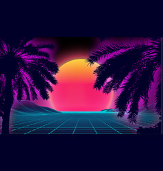 3d sunset on beach retro palms sci fi vector image
