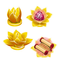 a set of gold statues in the shape of a lotus vector image