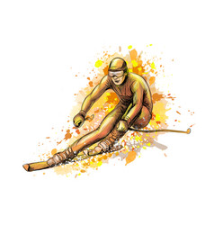 abstract biathlete from a splash of watercolor vector image