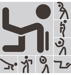 Aerobics icons set vector