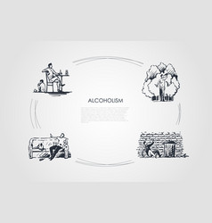 alcoholism - men drinking alcohol at home vector image