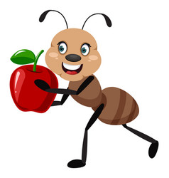 Ant with apple on white background vector