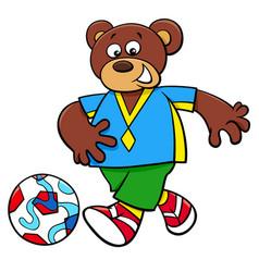 Bear football player cartoon character vector